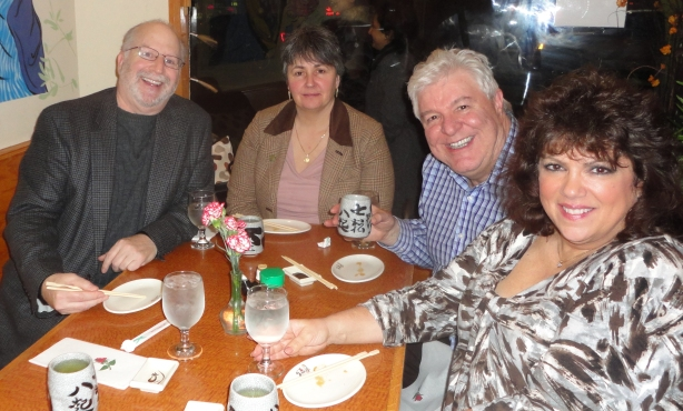 ADCNJ blogger Harvey Hirsch, Linda Lemos, Perry Quaranta and Andrea Mistretta all waiting to dine on amaebi at Momoya in Bloomfield, NJ.