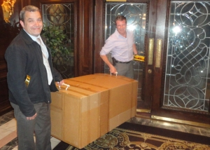 Bob Lyon and Jeff Barcan leave the show with a big box filled with their awards.