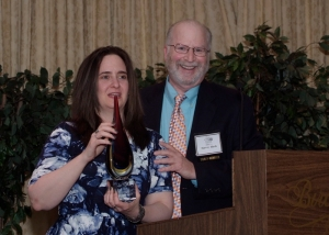 After serving as Judging Chair for over 13 years, Nancy Fisher was unanimously selected by the ADCNJ Board to receive this years' Lew Kraut Award for community service. Harvey Hirsch, past recipient and ADCNJ video blogger presented Nancy with the award.